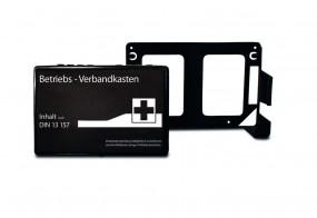 BETRIEBSVERBANDKASTEN mini + Wandhalterung, schwarz, mit DIN-Füllung 13 157