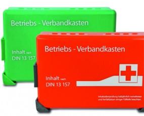 BETRIEBSVERBANDKASTEN mini+Wandhalterung, orange, mit DIN-Füllung 13 157-C